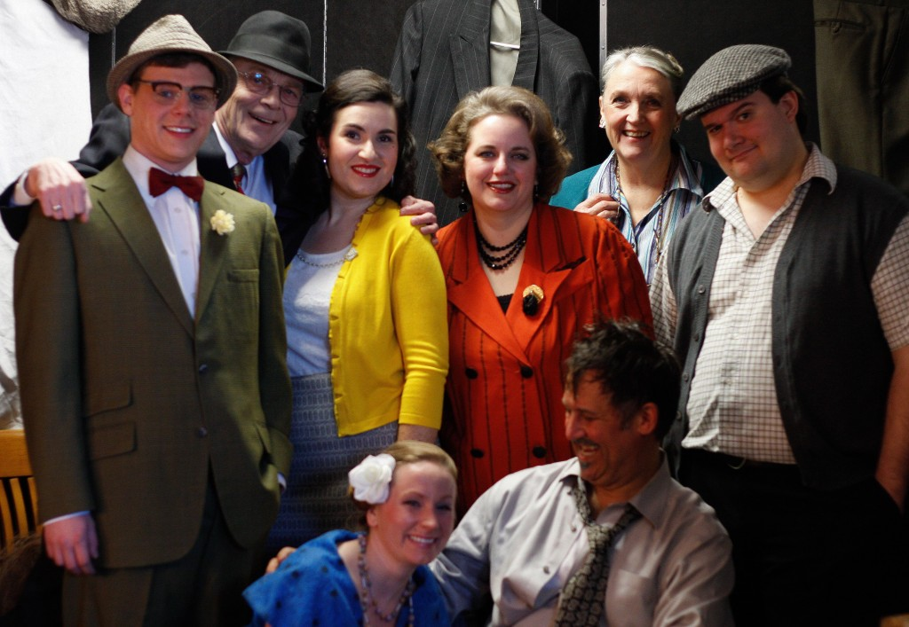 "The Cast of ""Moon Over Buffalo"" backstage during the last show.  From left to right: (backrow) Hugh Cameron, Bill McMahon, Georgia Papanicolaou, Jennifer Goodman, Jennifer Warr, Kevin McGall. (front) Crystal Mayer and Mark Daniher"